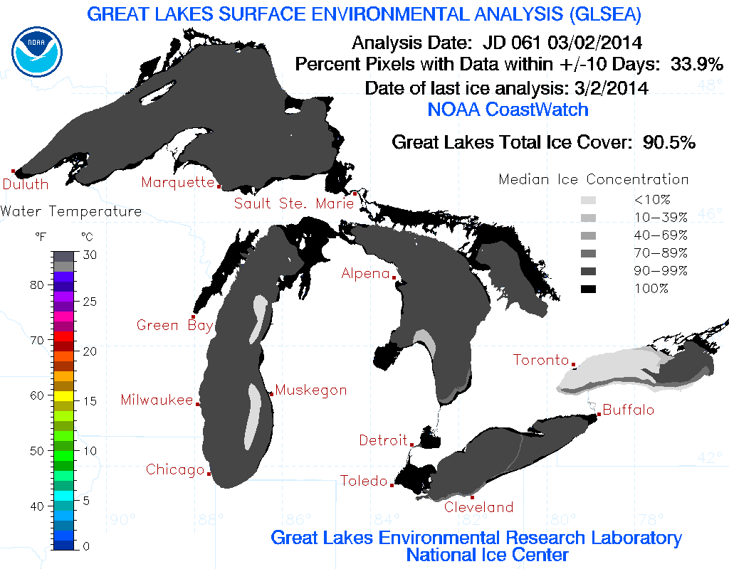 March Opens With All-Time Record Cold, 90.5% Of Great Lakes Is Ice, Cool Summer Likely To Follow!