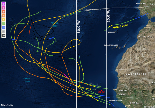 Tracks of previous known storms which developed east of 30 degrees longitude. Credit: NOAA/Brian McNoldy