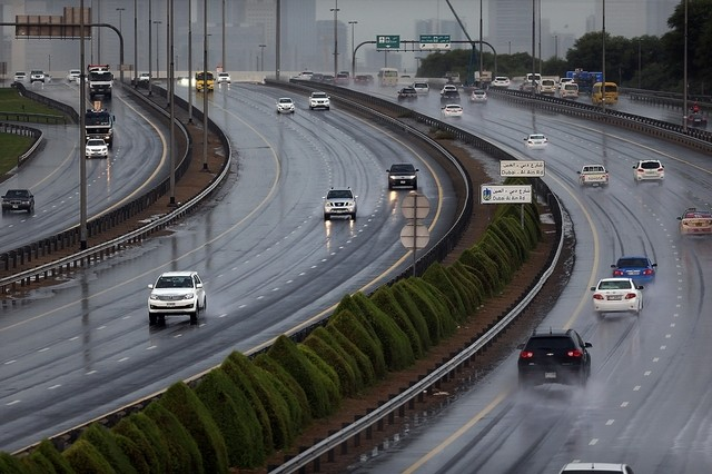 Dubai received some rain on Tuesday afternoon. Satish Kumar / The National