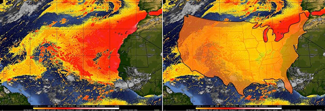 Meteosat-9 split window Saharan air layer satellite product over the central and eastern Atlantic Ocean at 1715 UTC, July 12, 2016. At left, the SAL is shown by the yellow, orange and red shading off the African coast. At right, the contiguous United States overlays the SAL, for scale. (Jason Dunion and UW-CIMSS)