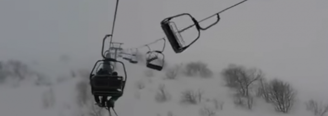 SKIERS STRANDED: Strong Winds Batter Italian Chairlift
