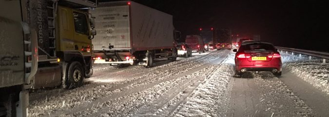 Heavy snow is back and so is long delays on Scotland's M74 Tonight