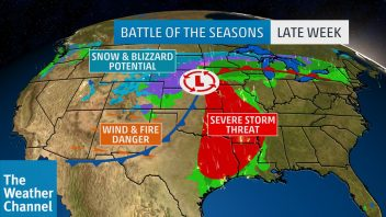 Textbook US Spring Storm With Wind, Snow, Blizzard, Severe, Flood & Fire Warnings