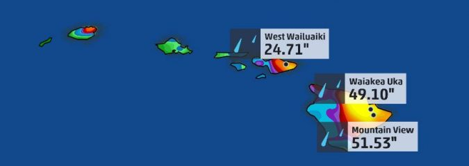 Hurricane Lane drops 51.53″ of rain on Hawaii making for 3rd wettest US tropical cyclone